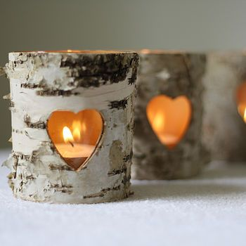 Pretty tea light holders made from bark!