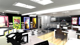 Voor Veldhuizen Grafisch Effect uit Voorthuizen hebben wij een ontwerp gemaakt voor de verbouw van het kantoor.