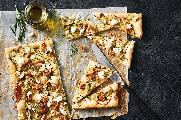 Zucchini, Chèvre and Walnut Tart | .canadianliving.com