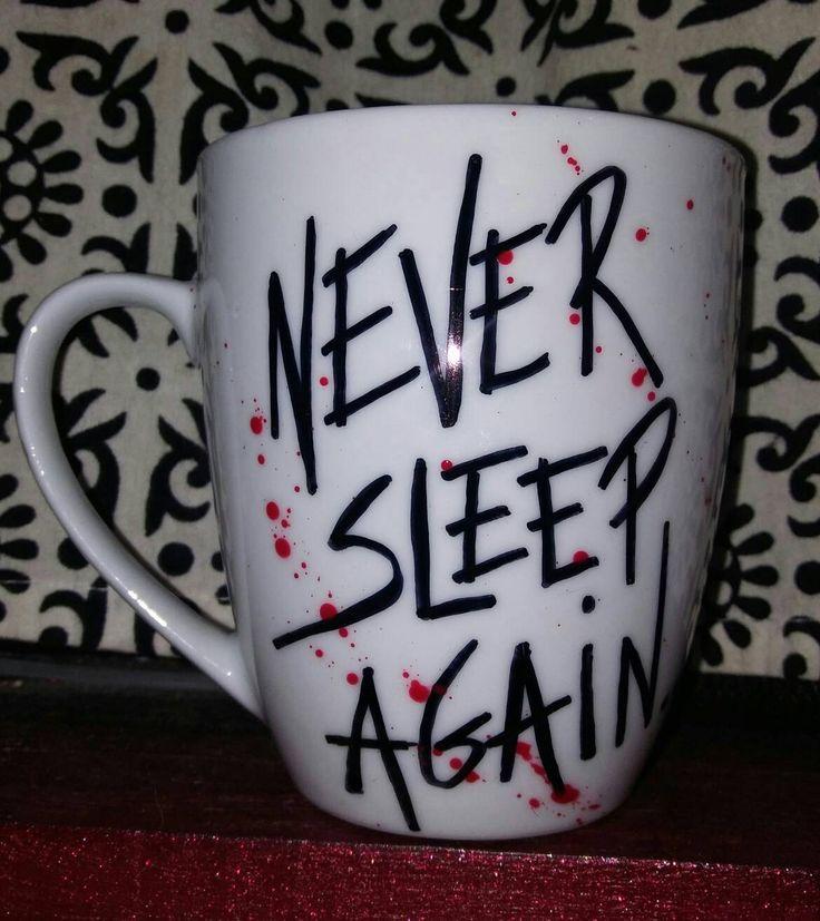 Never Sleep Again, Nightmare on Elm Street, Freddy Krueger, Hand Painted, Bloody, Kiln Fired, Horror Lovers, Horror Movie, Coffee Mug by LunaZingara on Etsy