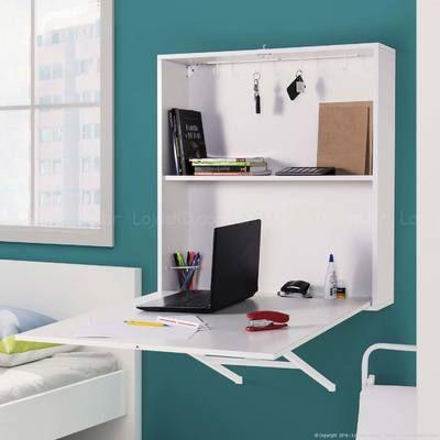 Escrivaninha/Mesa para Computador Suspensa Dobrável 1 Porta Joker Box Sem Banqueta Branco - Mobix