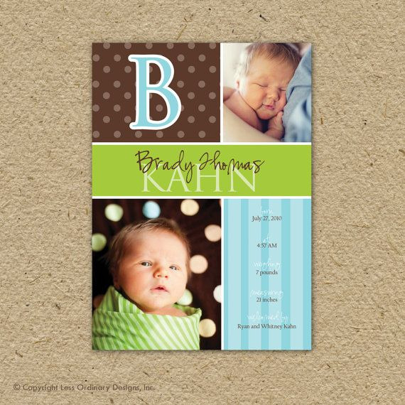 baby boy birth announcement custom and modern  by saralukecreative,