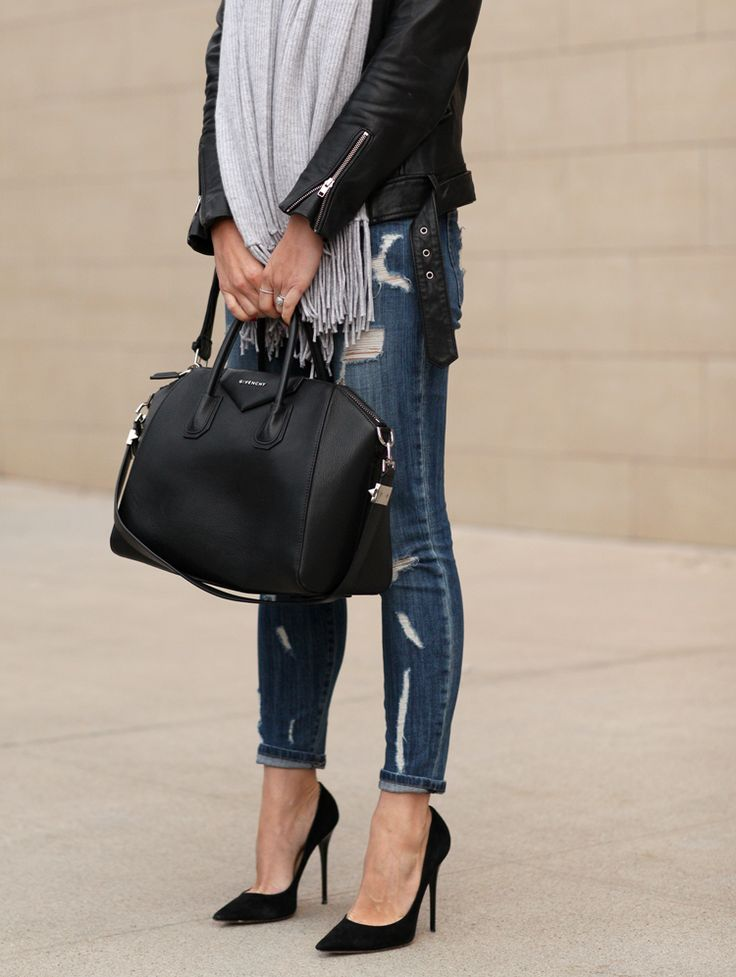 Distressed denim, leather jacket, scarf & pumps