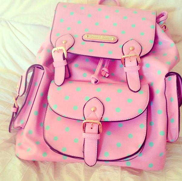 Cute! mint polka dots on pink!