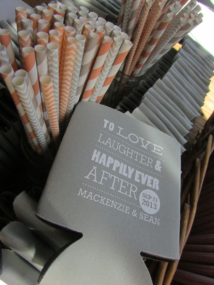 Cocktail Fun! Koozies and Straws - Wedding Koozies - Peach and Grey Wedding Ideas - Wedding Cocktails