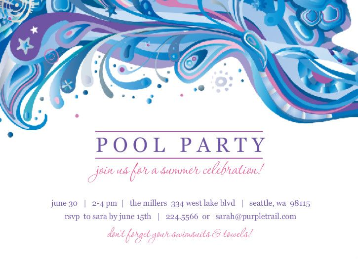 18 best pool party invitation images on pinterest pool party easily customize this blue and purple swirl pool party invite design using the online editor all of our pool party invitations design templates are fully stopboris Images
