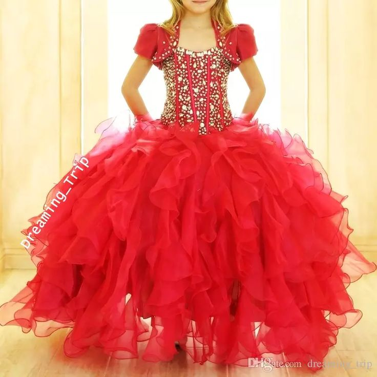 Red Ball Gown Girls Pageant Dresses With Jaket Bling Bling Crystals Exposed Boning Ruffles Skirt Puffy Child Cupcake Dress 2017 Pageant Resale Toddler Flower Girl Dresses From Dreaming_trip, $132.73  Dhgate.Com