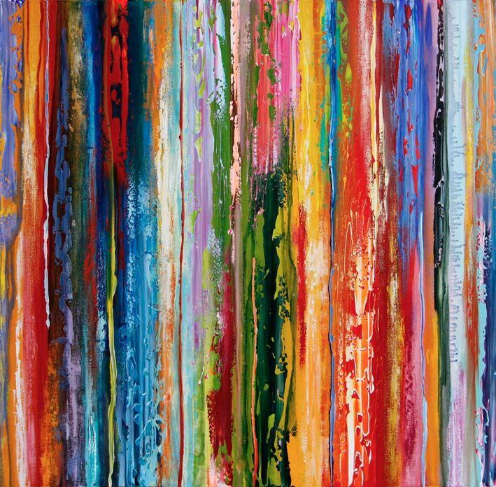 Cascade chromatique #7, acrylique sur toile, 100 x 100, 2015.  www.jeremica-art.net