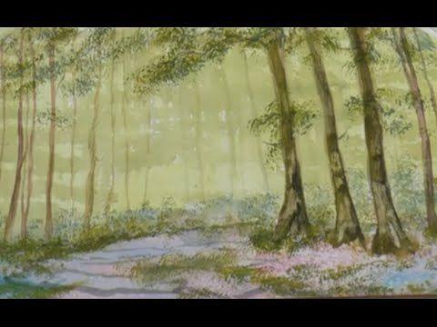 Рисуем Лесной массив губкой за минуту. Интересная техника. Bluebell wood...