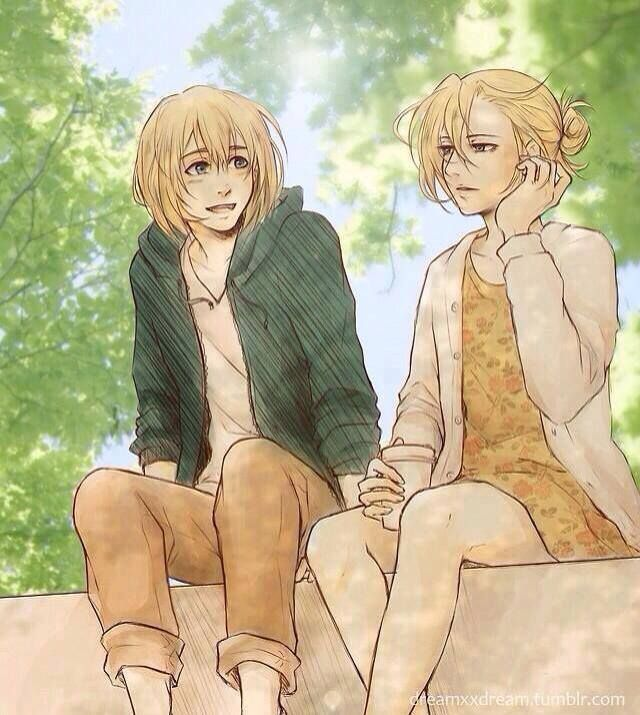 annie x armin // apparently I'm not as much of a die-hard BeruAnnie shipper because I find this REALLY CUTE