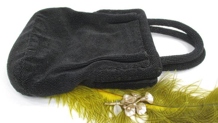 Vintage Koret Black Beaded Designer Purse 1940s High Fashion Evening Bag by UrbanRenewalDesigns on Etsy