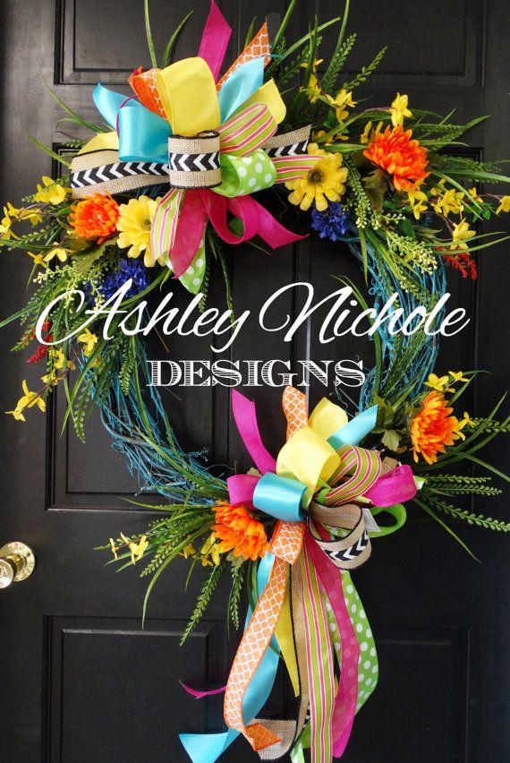 Turquoise Spring/Summer Wreath by DesignsAshleyNichole on Etsy