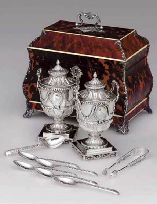 """Tea & sugar were both mostly import items in the 18th Century and would literally be locked away in caddies like this, along with silver, porcelain, & glassware in more affluent homes, because of their value.  Most were kept in """"butler pantries"""" of which only the butler or owners may have the key.  Sometimes butlers would literally sleep or have their office set up in the pantry as well."""