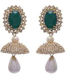 Buy Green gold plated diamond jhumkas jhumka online