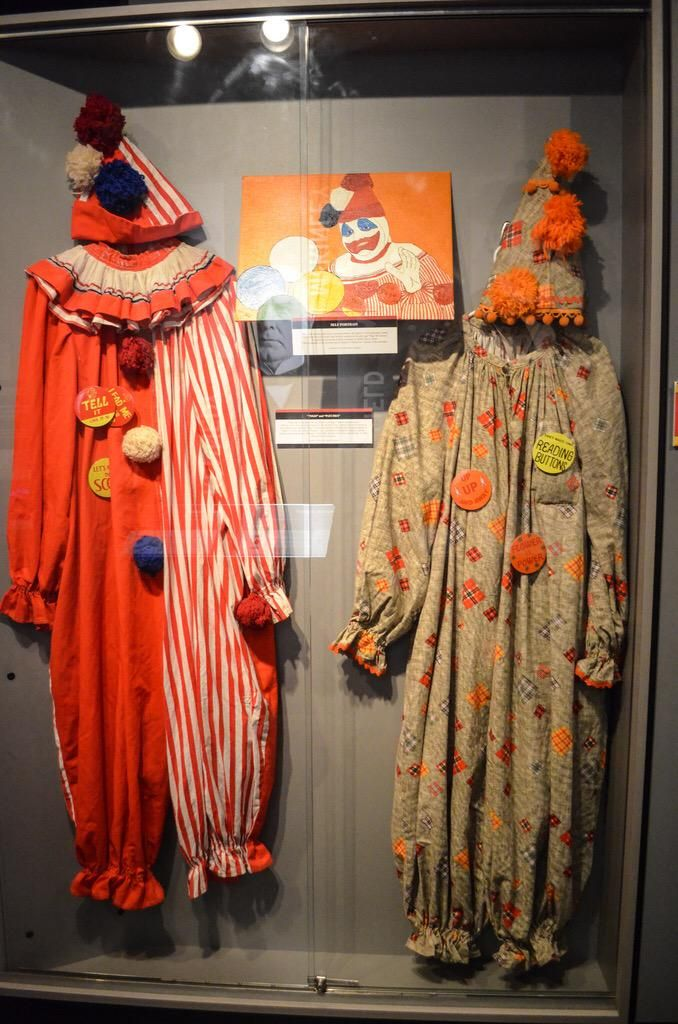 John Wayne Gacy's clown suits on display at the National Museum of Crime and Punishment.