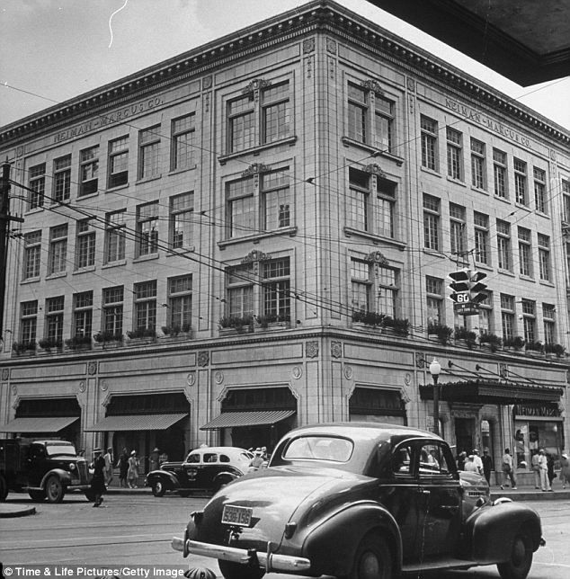 """Dallas's original Neiman Marcus store in 1939. The luxury department store was founded in 1907 by Herbert Marcus and his sister and brother-in-law, Carrie and A.L. Neiman.  This was """"the place"""" to shop for those getting rich during the oil boom.  They were famous for their yearly catalogs and sold out of ordinary and expensive items, one of a kind."""