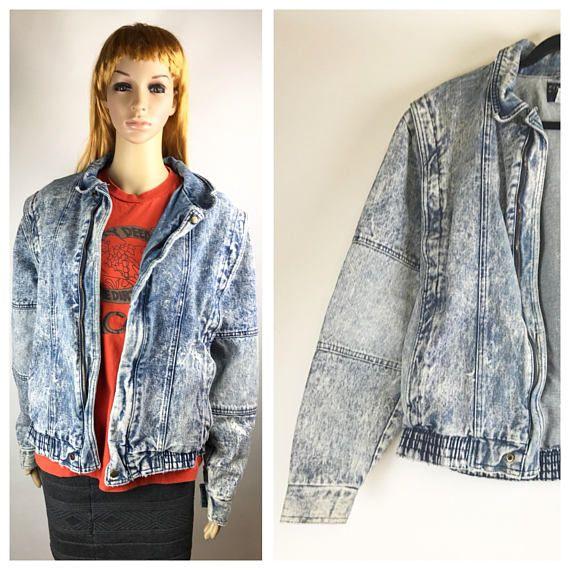 80s Acid Wash Jean Jacket Vintage oversize eighties clothing