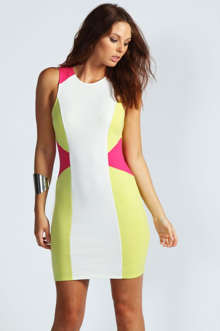 Maddie Colour Block Bodycon Dress at boohoo.com