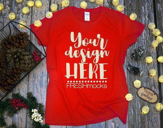 Download Gildan G500l Ladies Tshirt T Shirt Tee Mockup Red Tshirt Etsy Mockup Free Psd Tshirt Mockup Free Free Psd Mockups Templates