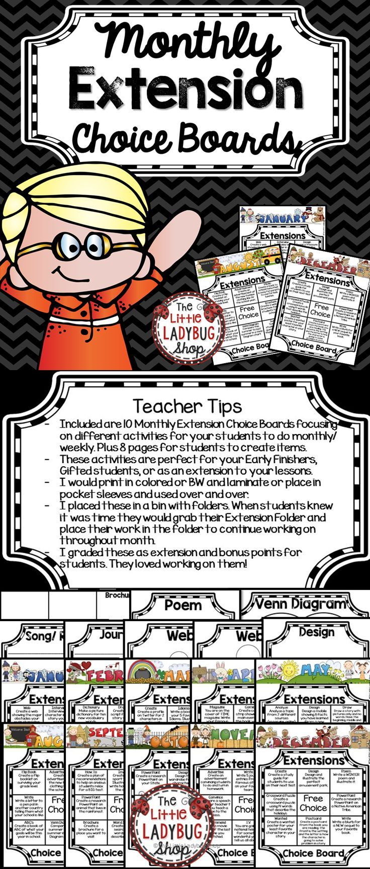 ★★Early Finishers★★ Monthly Choice Boards are a GREAT way to add extension…