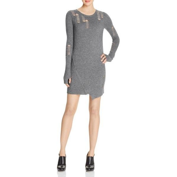 Pam & Gela Shredded Sweater Dress ($140) ❤ liked on Polyvore featuring dresses, heather gray, sweater dress, torn dress, ripped dresses, asymmetrical hemline dress and ripped sweater dress