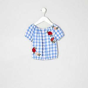 Mini girls blue gingham rose print bardot top