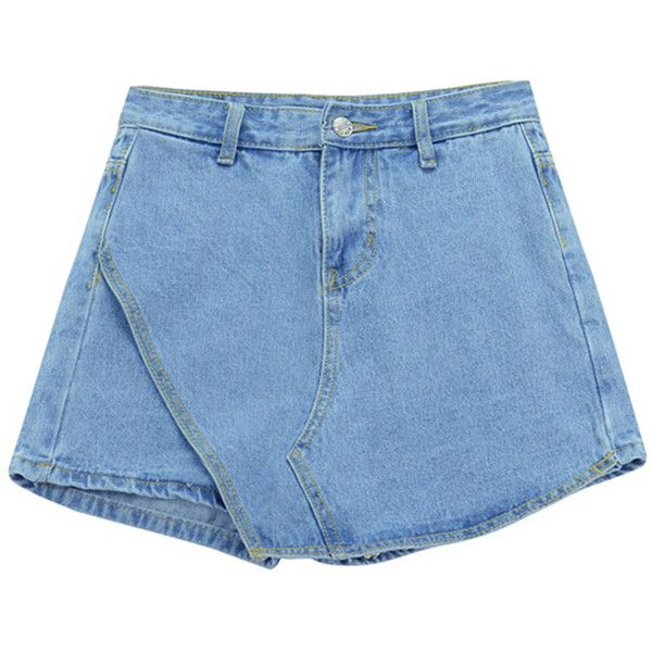 Chicnova Fashion Asymmetric Denim Shorts ($14) ❤ liked on Polyvore featuring shorts, blue, bottoms, jean shorts, denim short shorts, denim shorts, asymmetrical shorts and zipper shorts