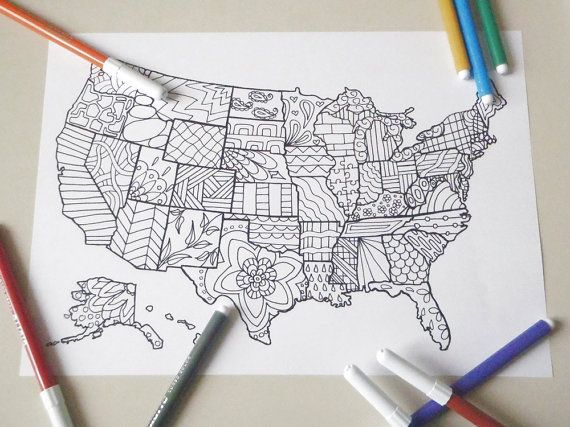 United States America Map Kids Adult Coloring By LaSoffittaDiSte