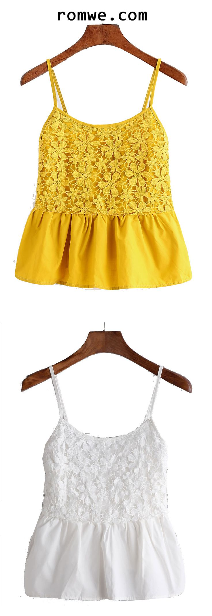 White & Yellow Lace Splicing Cami Top