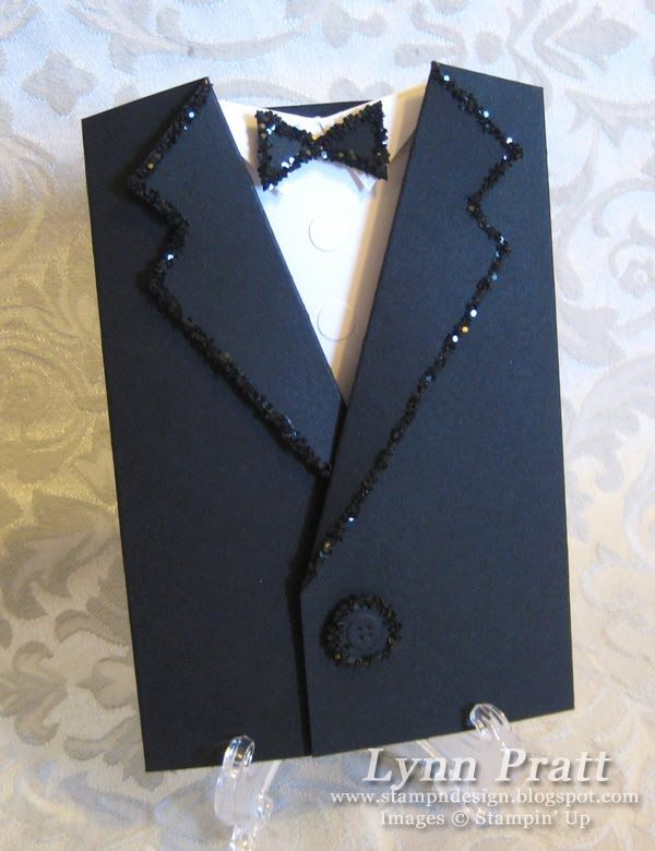 Tuxedo Card  I made something like this and it was a hit with the men I sent them to. Use different colours and textures to personalise it.