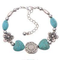 Рождественские подарки новый стиль винтаж тибетский серебряный цветы в форме сердца бирюзовый браслет браслет ювелирные изделия для женщин аксессуары 2014 M16