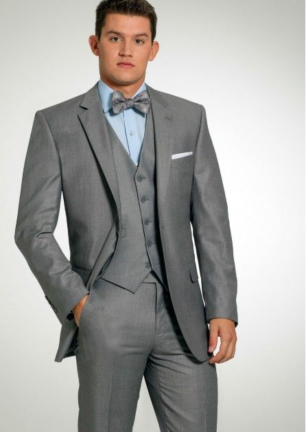 Grey Modern Two Button 3 Piece Suit by Sarno-amp-Son - Tuxedos