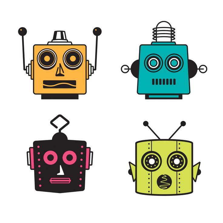 boy room ideas pictures - cut and fold robot faces