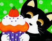 Tuxedo CAT and Halloween Pumpkin CUPCAKE Folk Art PRINT from Painting by Jill