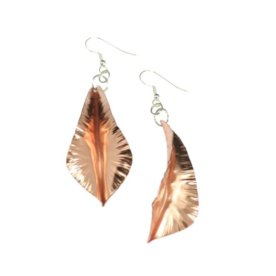 NEW 7 Year Anniversary Gift  Fold-Formed Copper Leaf Earrings 7th Anniversary Gift For Her Seven Year Anniversary Gift Copper Anniversary Gifts by johnsbrana https://www.etsy.com/listing/450448680/7-year-anniversary-gift-fold-formed?ref=rss