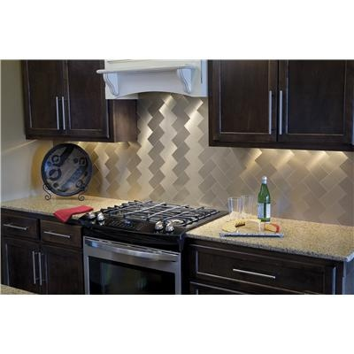 backsplash aspect peel stick metal tiles champagne from acp 1992 sq ft - Abnehmbare Backsplash Lowes