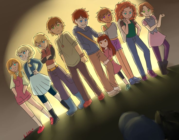 Anna, Elsa, Astrid, Hiccup, Jack and his sister, someone I don't know, Merida, and Rapunzel