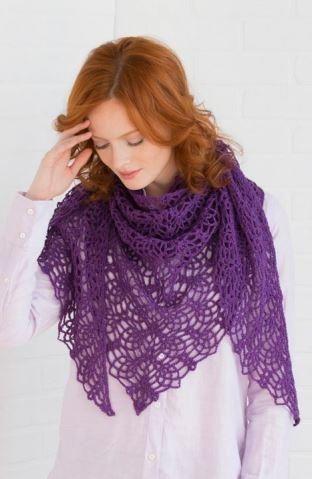 "Royal Pineapple Crochet Shawl | FaveCrafts.com ~ intermediate skill ~ meas. 68"" across x 34"" in length at center ~ FREE - CROCHET"