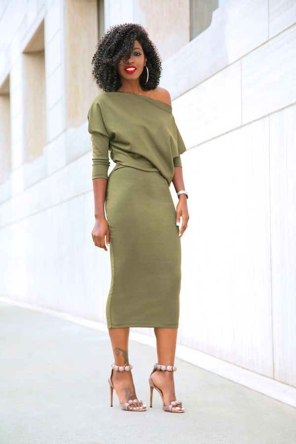 Style Pantry | Slouchy Off Shoulder Midi Dress