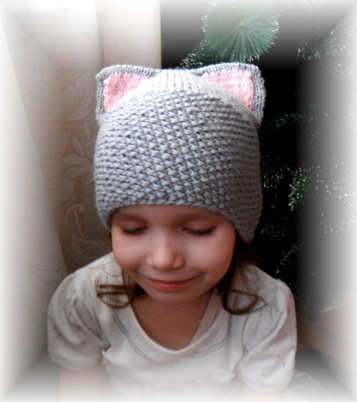 вязание детям шапка кошка весна китти вязание на заказ