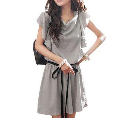 Woman Sheerness Top Cowl Neck Flutter Sleeve Dress Gray L