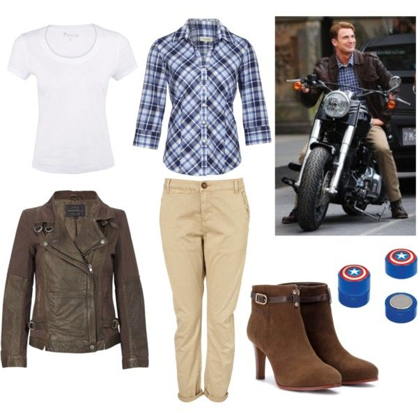 """Steve Rogers"" -inspired outfit. Just get rid of the boots, I'm not a big fan of them. The alias of Captain America, played by Chris Evans. What a cutie! ;)"