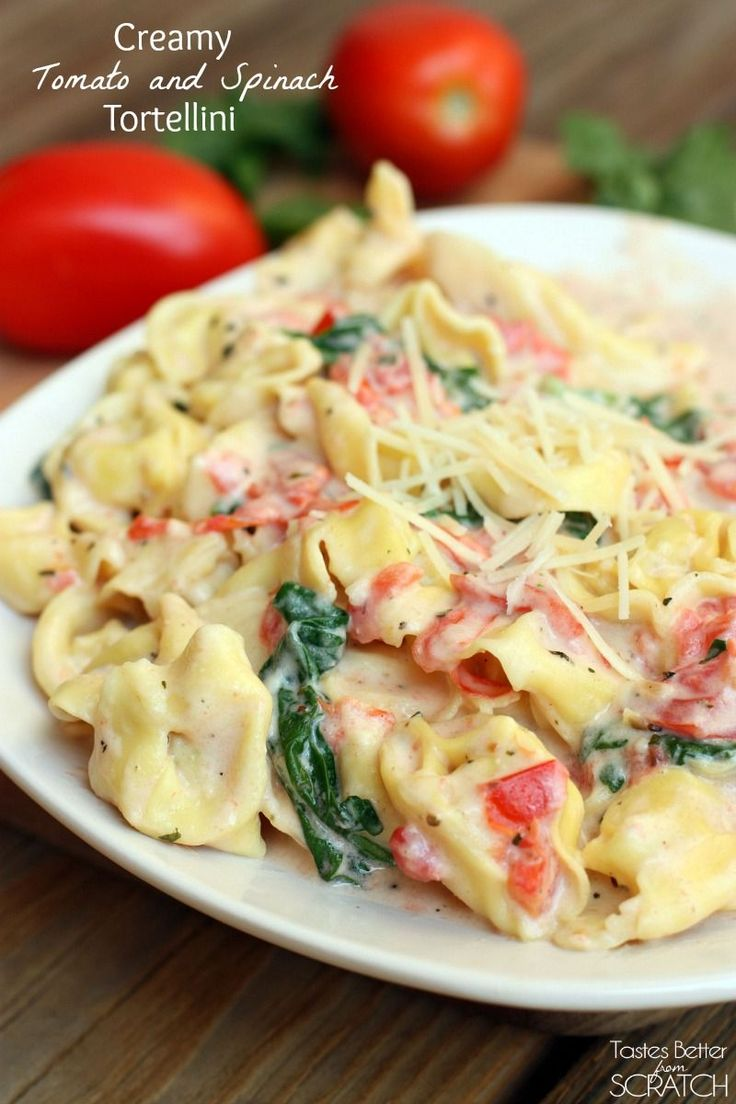 Creamy Tomato and Spinach Tortellini --such an easy 30-minute meal! Recipe on http://tastesbetterfromscratch.com