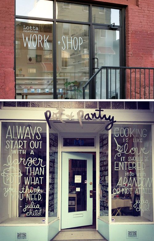 hand-lettered shop windows. So many options for awesome Vintage style fonts. How to do on rental building? Perspex screens we can reuse? Bulk Clear Sticky window 'protector' roll? Simply paste on window and write... Fun option to draw stick figures for kids church rooms, or simply labelling rooms and cafe areas where there is glass.