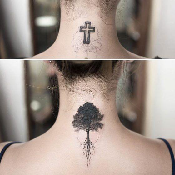 264468881 minimalist-tattoo-hongdam-korea-83-57e3a8c4dda79__700 | TATS | Best cover  up tattoos, Cover tattoo, Cover up tattoos