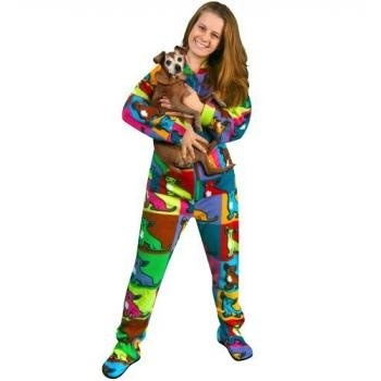 """Pajama City offer the best PajamaCity Warhol Chihuahuas Print Polar Fleece Butt-Flap Footed Pajamas for Teens and Adults Size 5 (5'6"""" to 5'7"""")."""