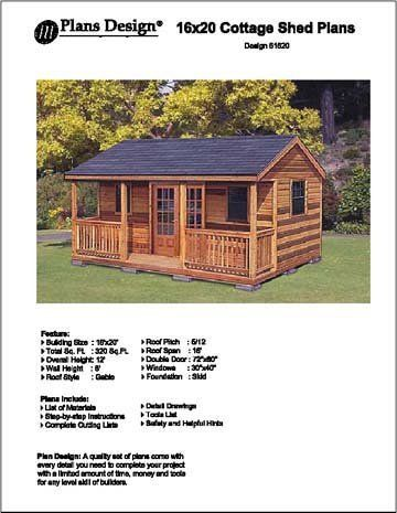 16 39 X 20 39 Cottage Shed With Porch Project Plans Design