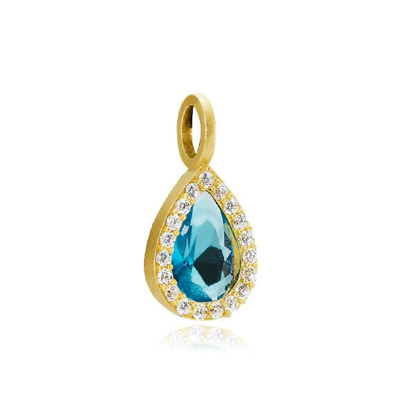 GODDESS pendant with a blue zirconia drop surrounded by many small zirconias in matt gold plated sterling silver - Danish design jewelry by Izabel Camille. Price: EUR 45 No. A5120g-blue www.izabelcamille.com