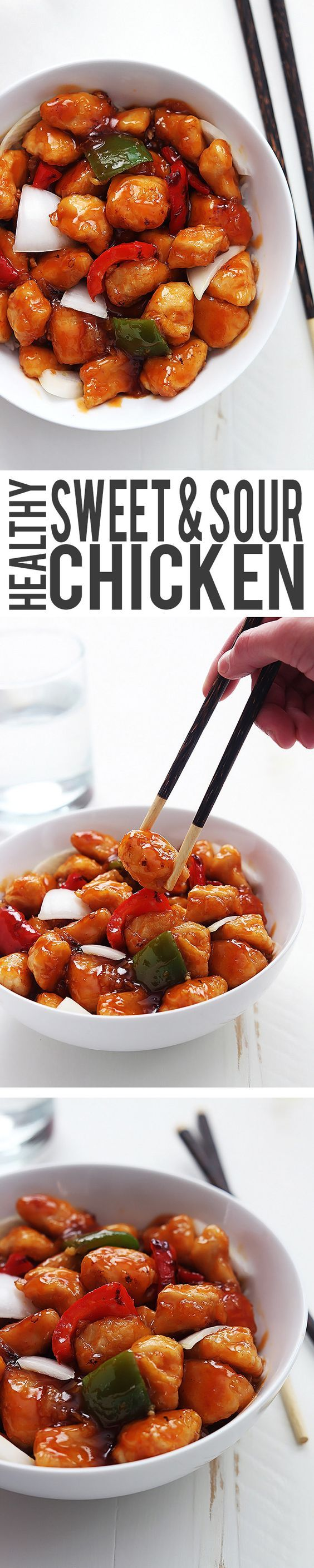 Healthy Sweet and Sour Chicken it's easy better tasting than takeout and ready in just 30 minutes.