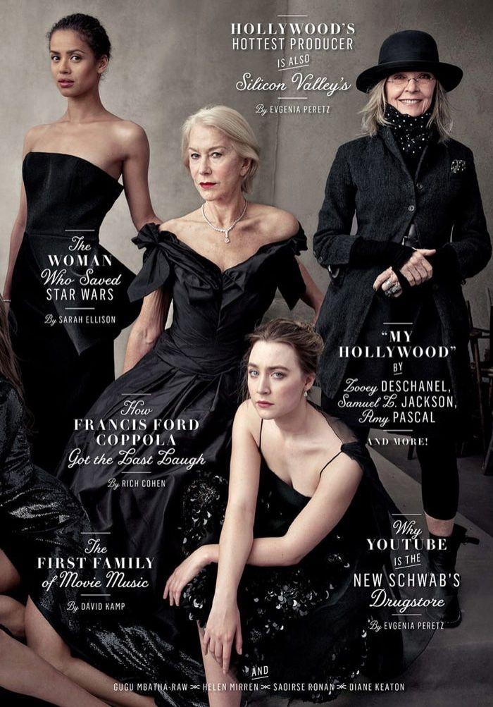 Gugu Mbatha-Raw, Helen Mirren, Saoirse Ronan y Diane Keaton en la revista Vanity Fair 2016 cubierta Emisión Hollywood